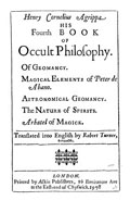 Agrippa's Fourth book of occult philosophy and arbatel of magic